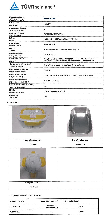 SPICE - ;Fiambrera eléctrica Modelo «Amarillo INOX» con Bandeja extraíble de Acero Inoxidable portátil, Recipiente de Comida Termico.