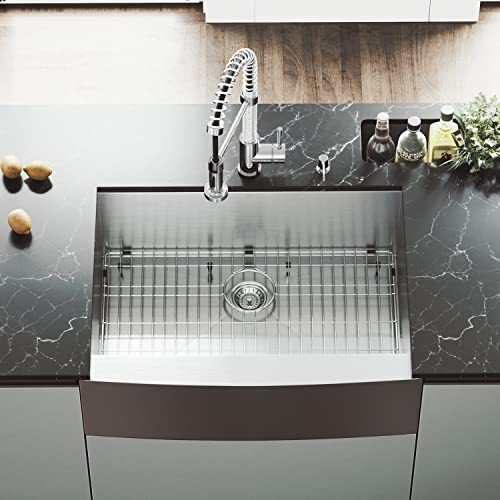 VIGO VG3020CK1 30 Inch Single Bowl 16 Gauge Stainless Steel Commercial Grade Farmhouse Apron Front Kitchen Sink with Grid and Strainer, Rounded Corners and SoundAbsorb Technology