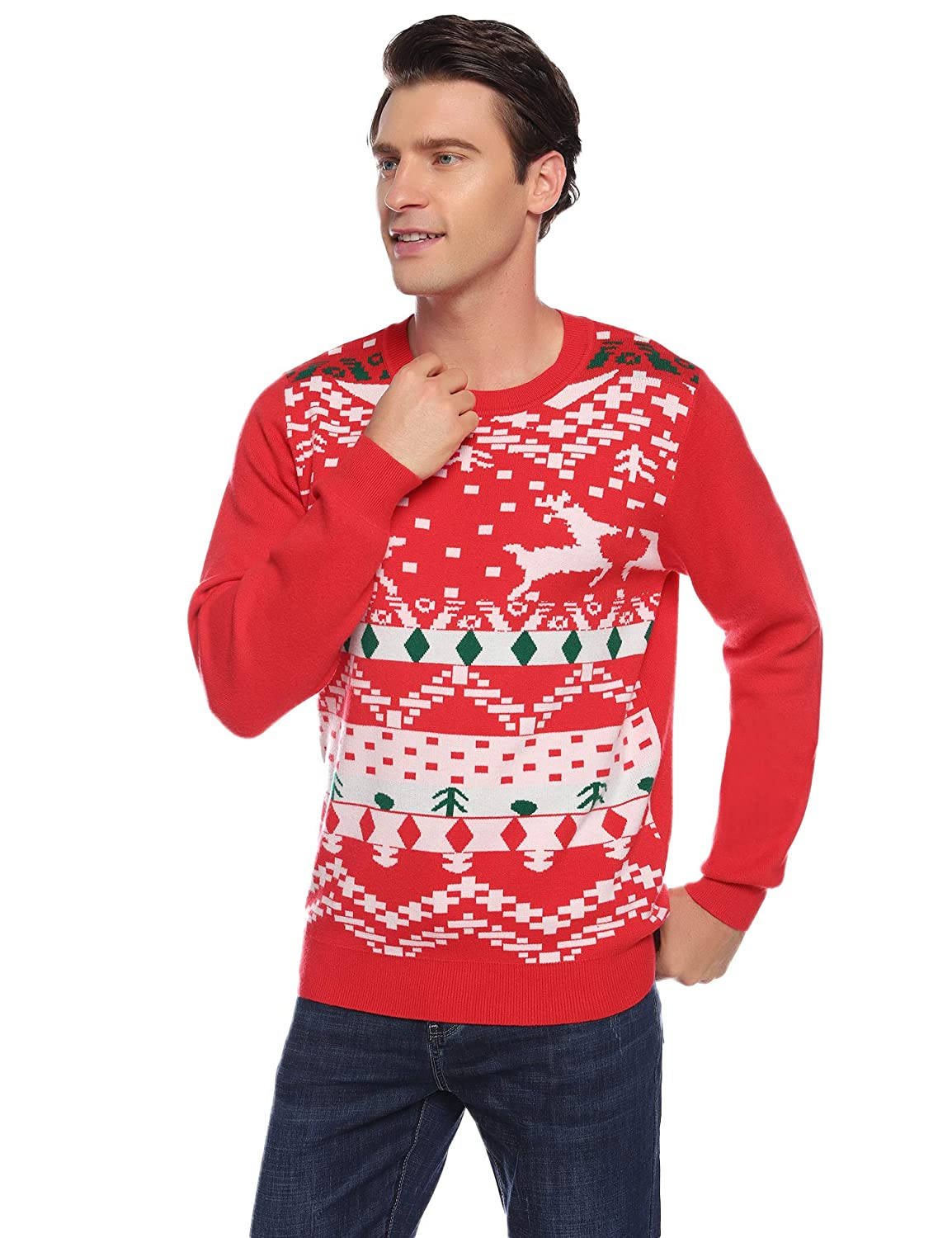 Abollria Family Christmas Jumer Reindeer Long Sleeve Chunky Knitted Ribbed Sweater Jumpers Knitwear Pullover