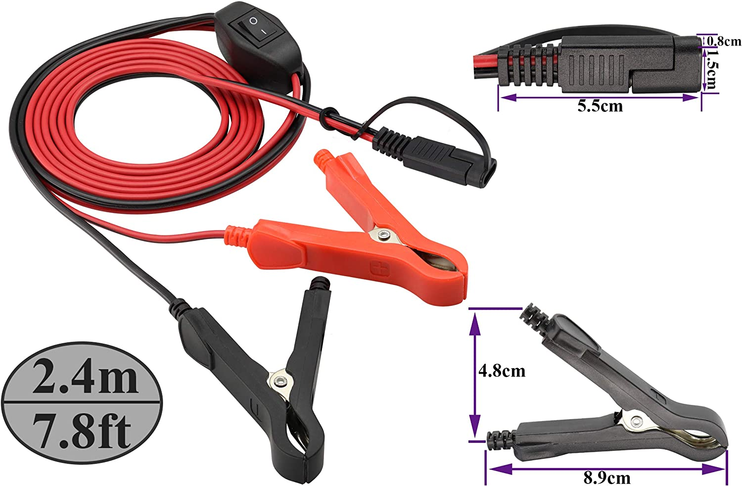 AAOTOKK SAE Extension Cable 16 AWG Wire Harness SAE to Battery Alligator Crocodile Clip12V DC Extension Cord with Switch Quick Connect//Disconnect Snap Action Cable 2.4m//7.8ft-Fuseless Box