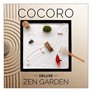 KAMUI Desktop Zen Garden for Desk and Office (9.84 x 9.84 inch) COCORO Accessories Includes Zen Garden Sand, Rocks, Rake, Moss Stones, Fishes, Lantern, Bridge, and Origami
