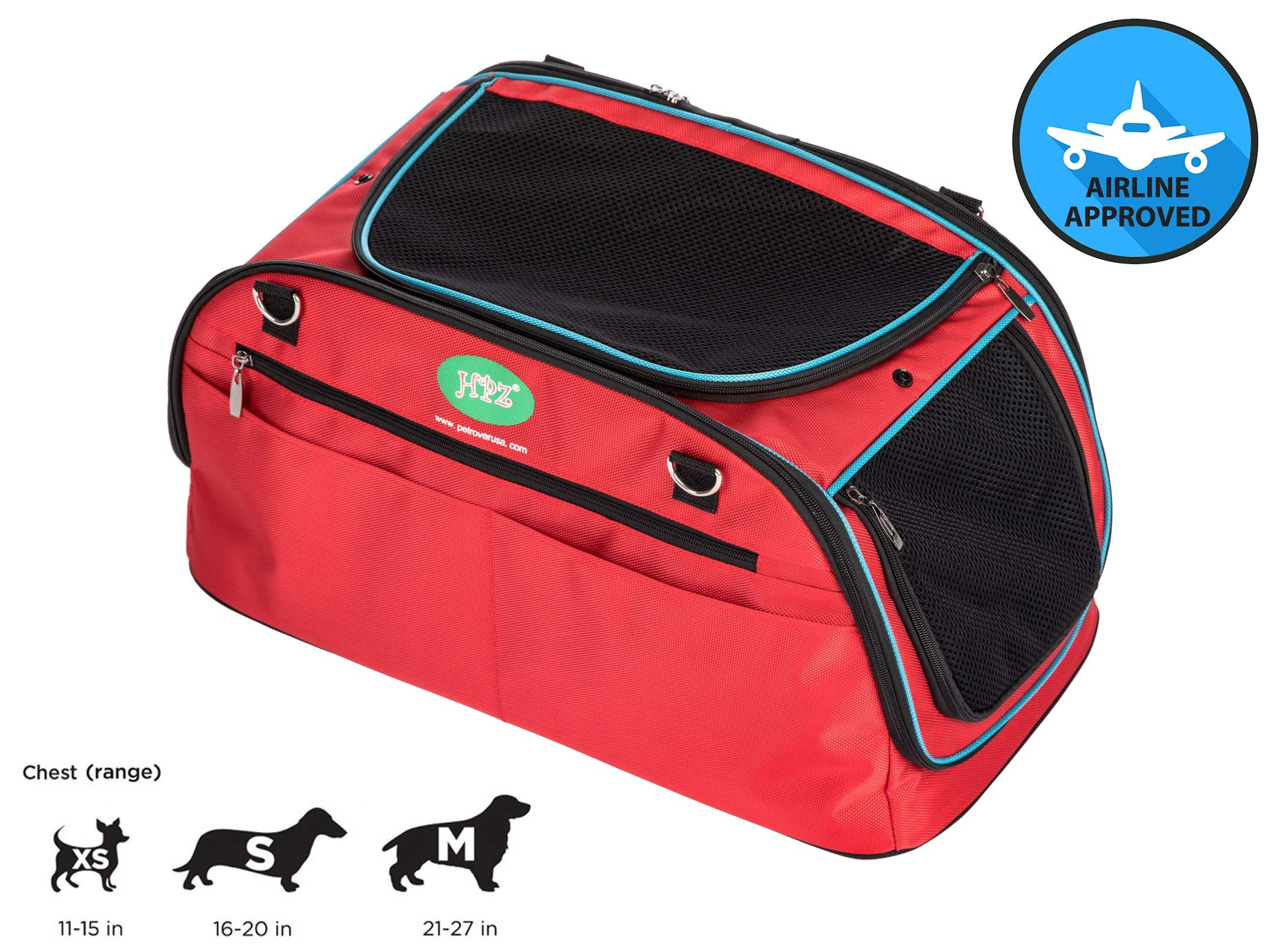 HPZ Multi-Functional Pet Travel Carrier Bag/Backpack/Car Seat/Airline in-Cabin Compatible (21x11x10in.)