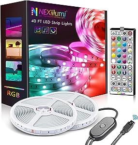 Nexillumi 40 ft LED Lights for Bedroom with Remote Color Changing LED Strip Lights