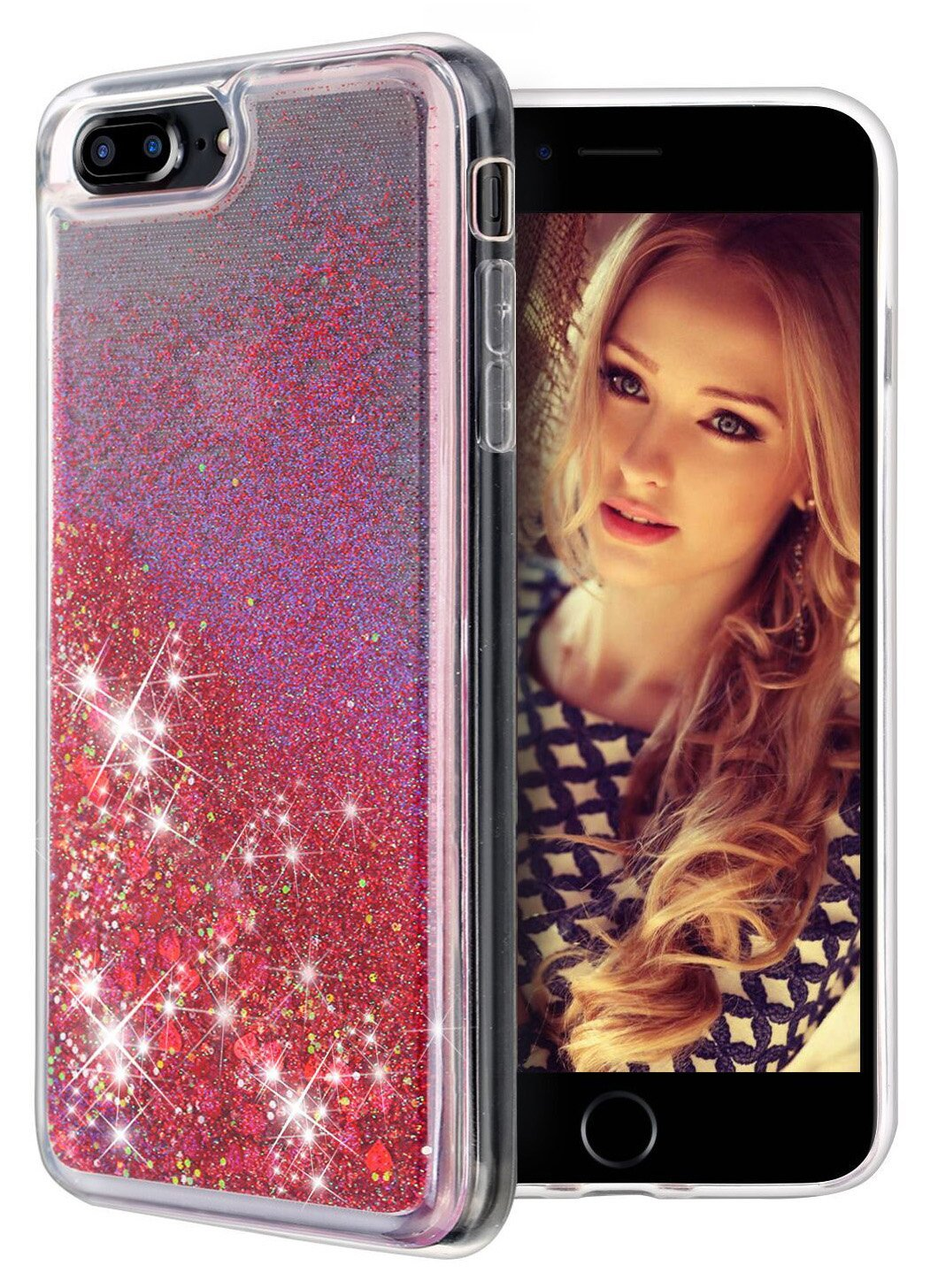 iPhone 7 Plus Case, iPhone 8 Plus Case, WORLDMOM Double Layer Design Bling Flowing Liquid Floating Sparkle Colorful Waterfall TPU Protective Phone Case for iPhone 7 Plus/ 8 Plus [5.5'], Blue