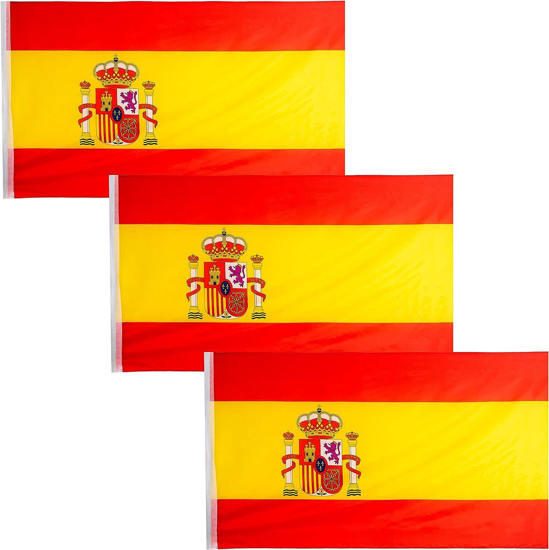 JEVX Banderas de España 90x60cm 3 Unidades para Colgar en Mastil Bandera Española con Escudo Nacional para Uso Exterior e Interior Bordes Reforzados: Amazon.es: Jardín