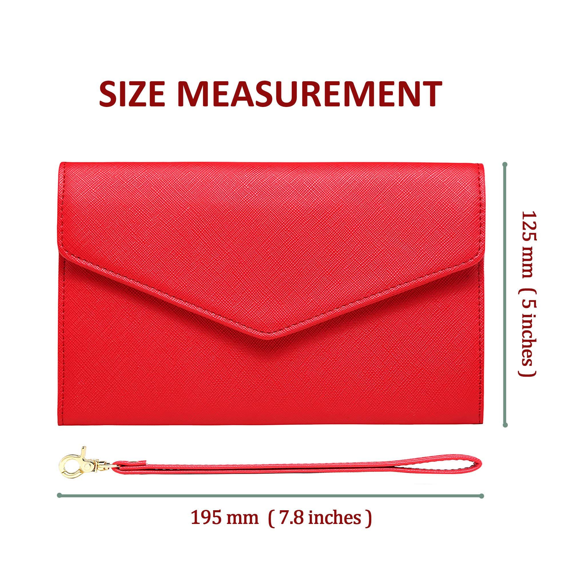 Krosslon Travel Passport Wallet for Women Rfid Wristlet Slim Family Document Holder, 11# Agate Red by KROSSLON (Image #5)