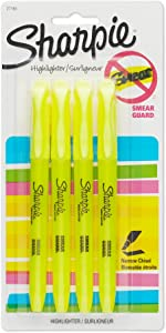 Sharpie ACCENT Highlighter, Pocket Highlighter Narrow Chisel, 4-Carded, Fluorescent Yellow (1908050)