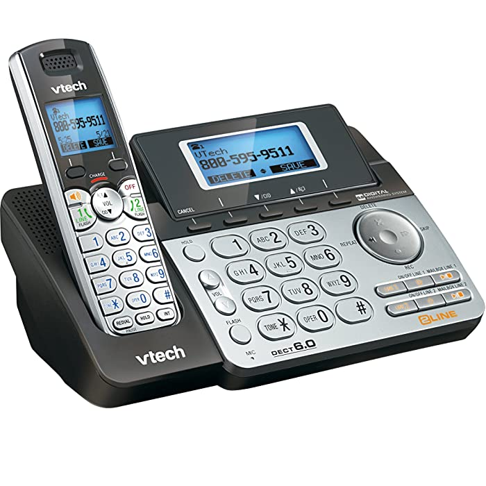 VTech DS6151 2-Line Cordless Phone System for Home or Small Business with Digital Answering System & Mailbox on each line, Black/silver