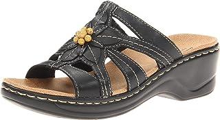 Clarks Women's Lexi Myrtle Sandal,Black,7.5 XW US 65112