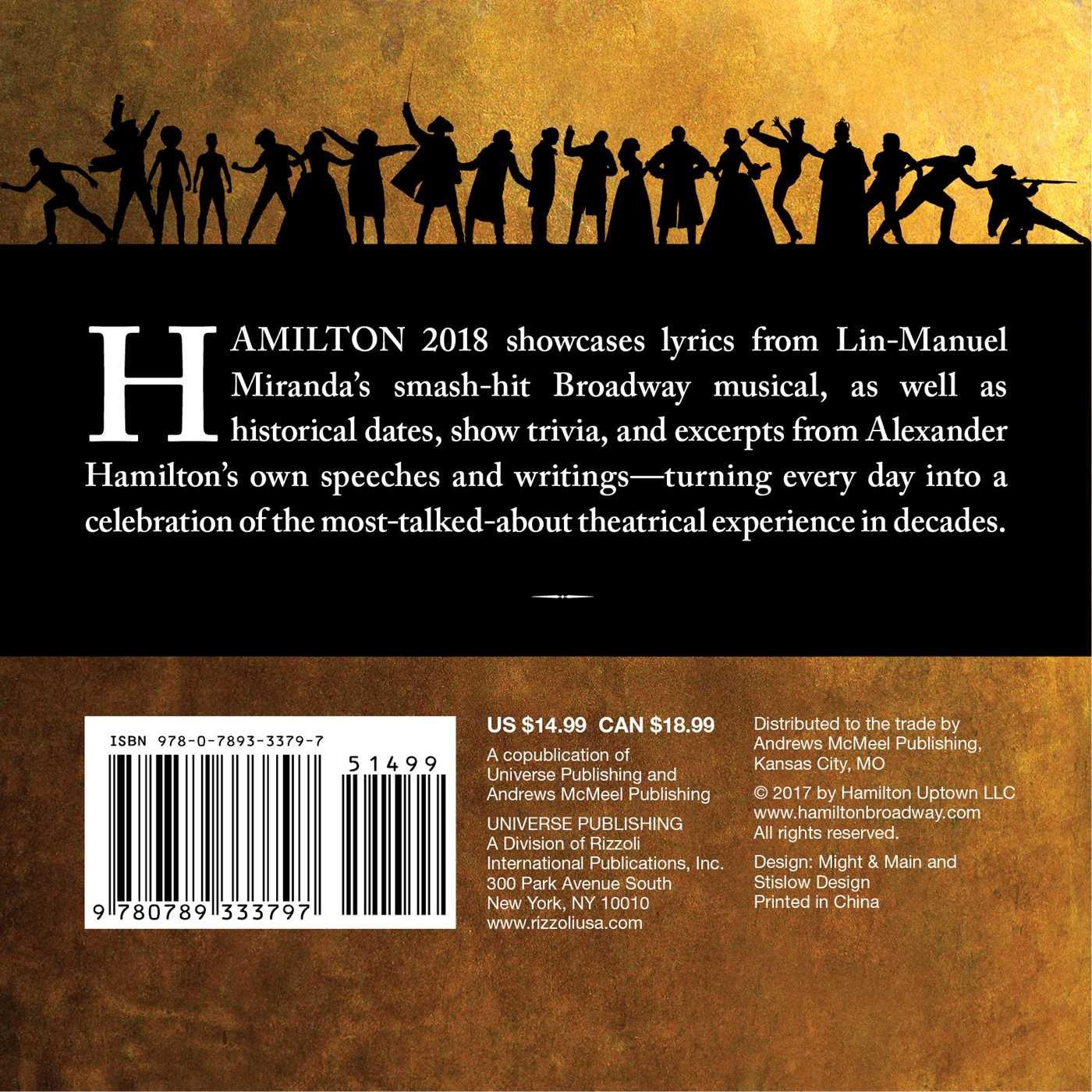 Hamilton 2018 Day to Day Calendar: Hamilton Uptown LLC