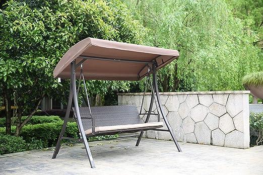 Angel Living Columpio de Hollywood con 3 Asientos, Balancín de Jardín de 3 Plazas con Protección Solar con Cojín (Columpio): Amazon.es: Hogar