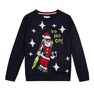 4774dd0f1044 bluezoo Kids Navy 'Father Christmas' Light Up Jumper Age 13-14 ...