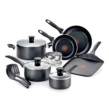 Pure Cook fácil cuidado iniciativas antiadherente 12 piezas Batería de cocina de aluminio lavavajilla Set por T-fal ...