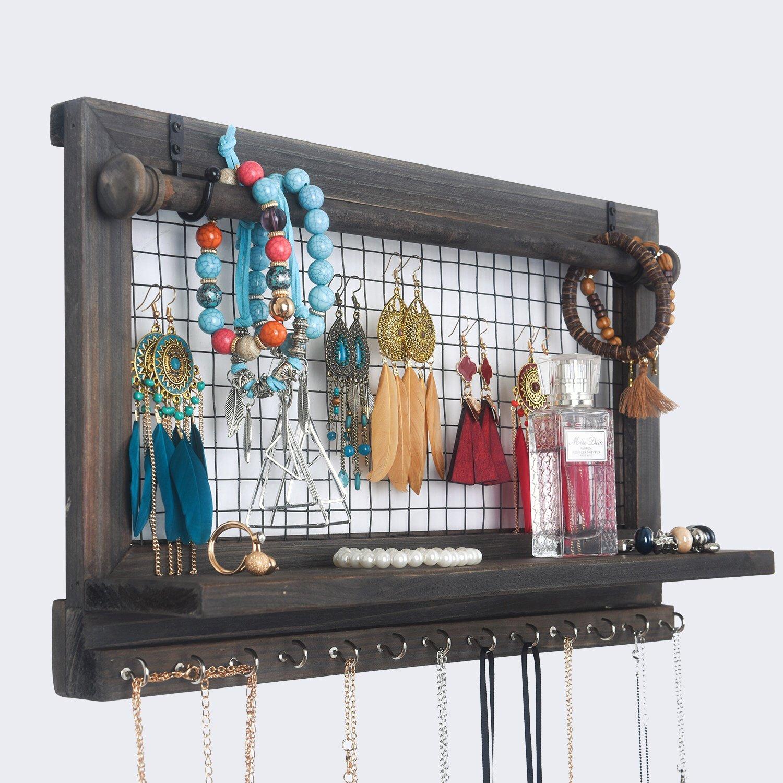 RHF Jewelry Organizer, Rustic Home Decor, Jewelry Holder Organizer, Necklace Holder, Earring Organizer, Jewelry Storage, Jewelry Shelf (Rustic) Rose Home Fashion
