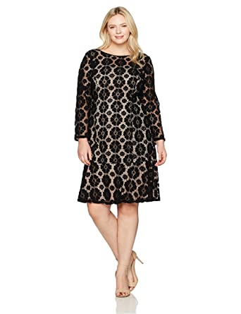 a68d155ba50d Adrianna Papell Women's Size Plus Textured Florl Lace Flounce Dress at  Amazon Women's Clothing store: