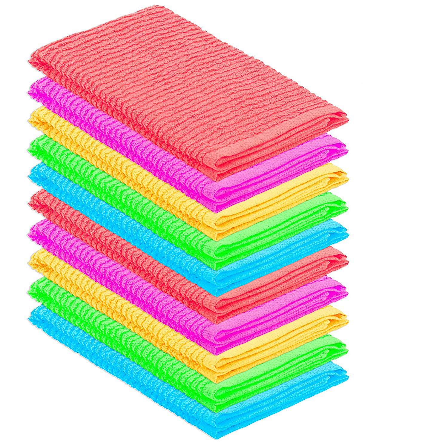 DecorRack 10 Pack 100/% Cotton Bar Mop Heavy Duty Kitchen Cleaning Towels Ultra Absorbent 10 Pack Spring Colors 16 x 19 inch