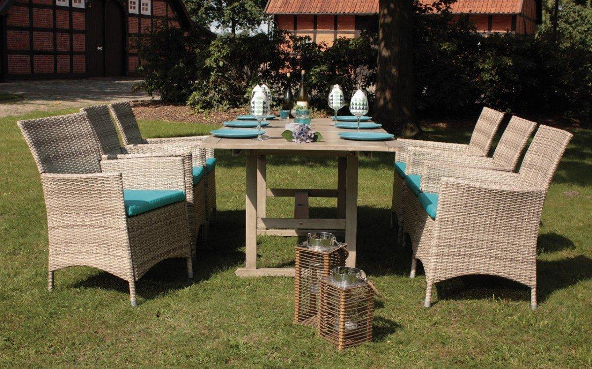 Set, 6x Sessel, 6x Sitzkissen, 1x Tisch, Ausziehbar, Consul Garden,  Akazienholz, Loungemöbel, Balkonmöbel, Gartenmöbel, Terrasse, Outdoor,  Wintergarten, ...