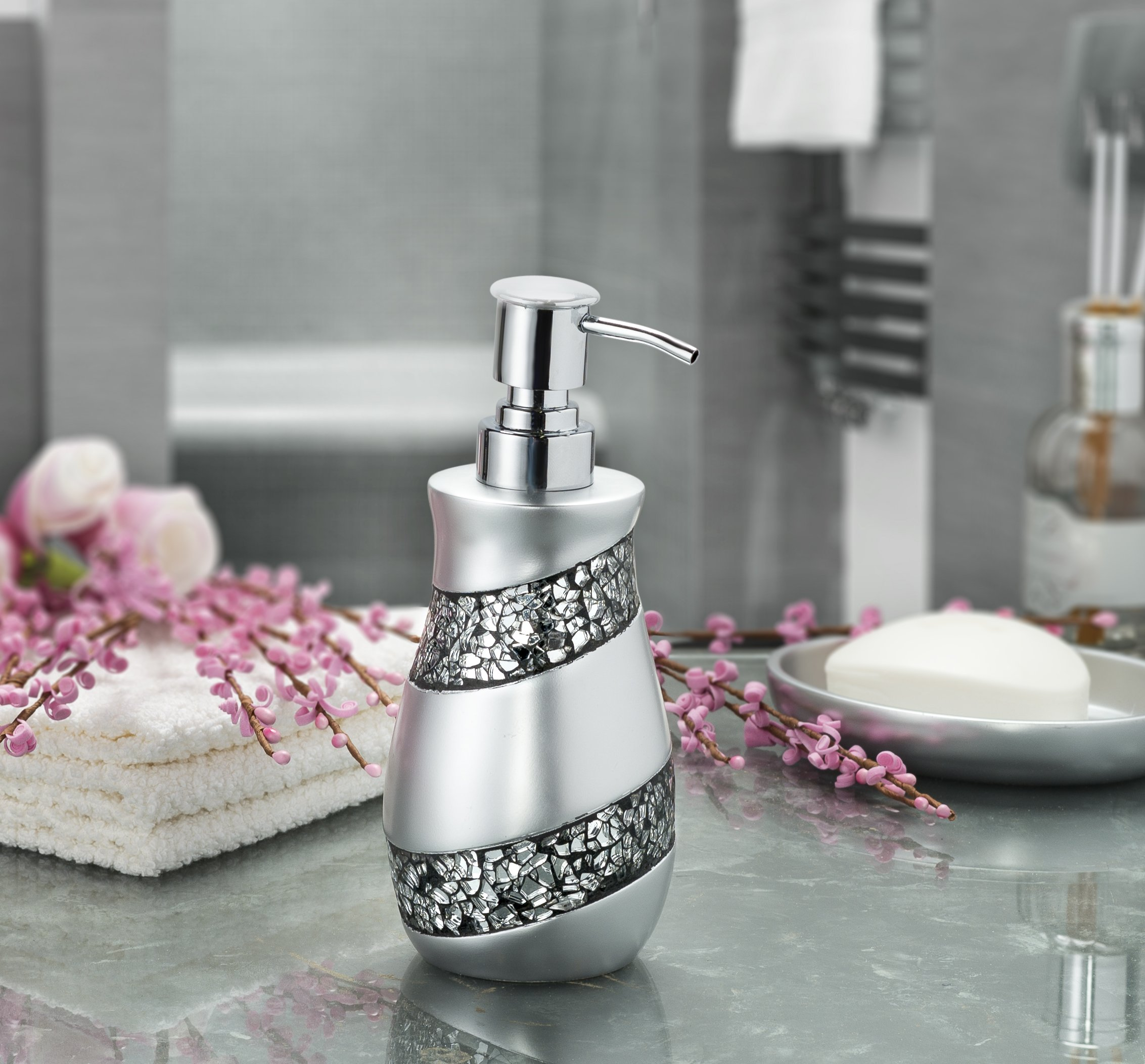Dwellza Silver Mosaic Bathroom Accessories Set, 6 Piece Bath Set Collection  Features Soap Dispenser, Toothbrush Holder, Tumbler, Soap Dish, Tissue  Cover, ...