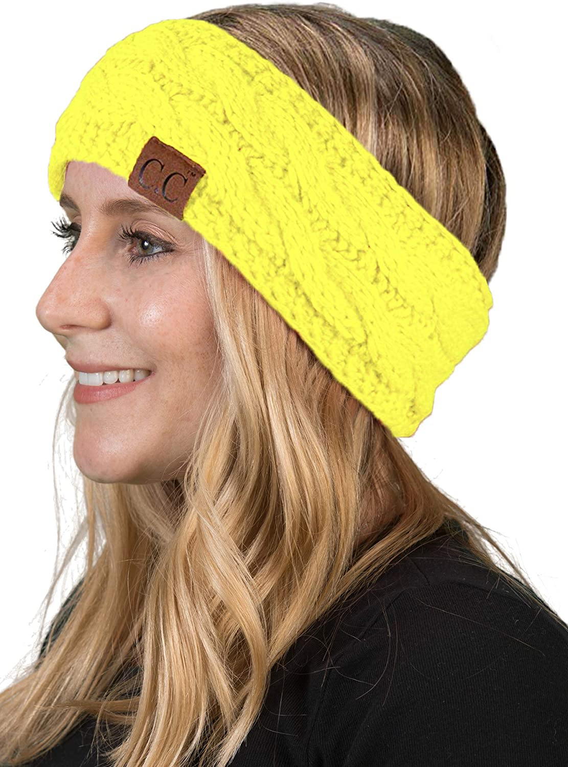 Funky Junque HW-6033-20a-55 Solid Headwrap Neon Yellow