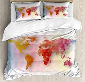 Amazon world map duvet cover set king size by ambesonne world map duvet cover set king size by ambesonne watercolor map of the world with gumiabroncs Image collections