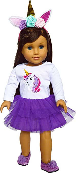 "18/"" doll clothes-fits American Girl My Life-Footsie Pajamas-Hair Band-Unicorn Wt"