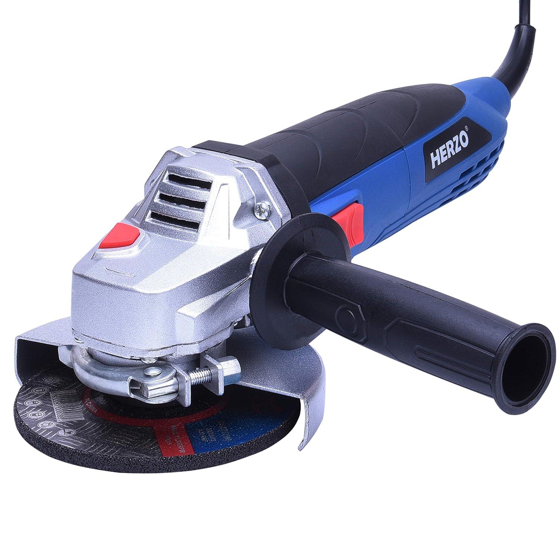 HERZO Amoladora angular 125 mm 850W incluye Cepillo de cartó n y llave inglesa