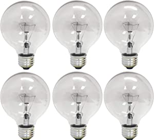 GE Lighting 12980 40-Watt 410-Lumen G25 Globe Light Bulbs, Crystal Clear, 6-Pack (Renewed)