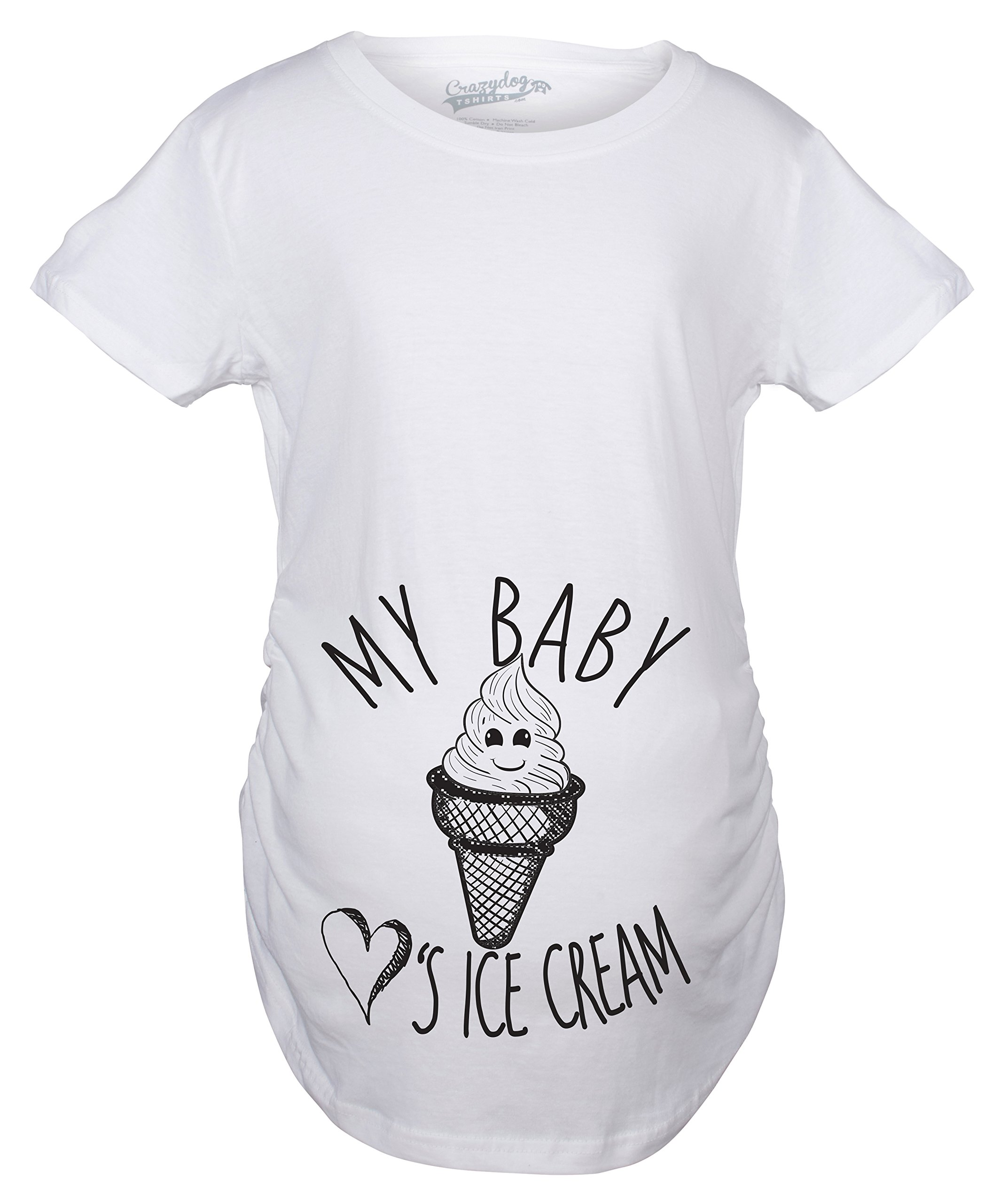 Maternity My Baby Loves Ice Cream Funny Announce Pregnancy Baby Bump T Shirt (White) -S
