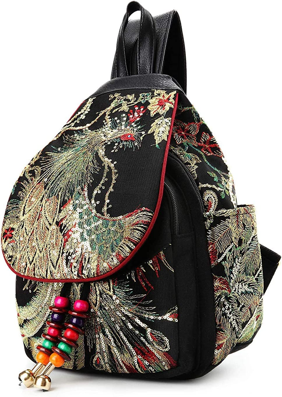 GXFLO Vintage Phoenix Sequins Embroidered Womens Backpack Travel Shoulder Bag