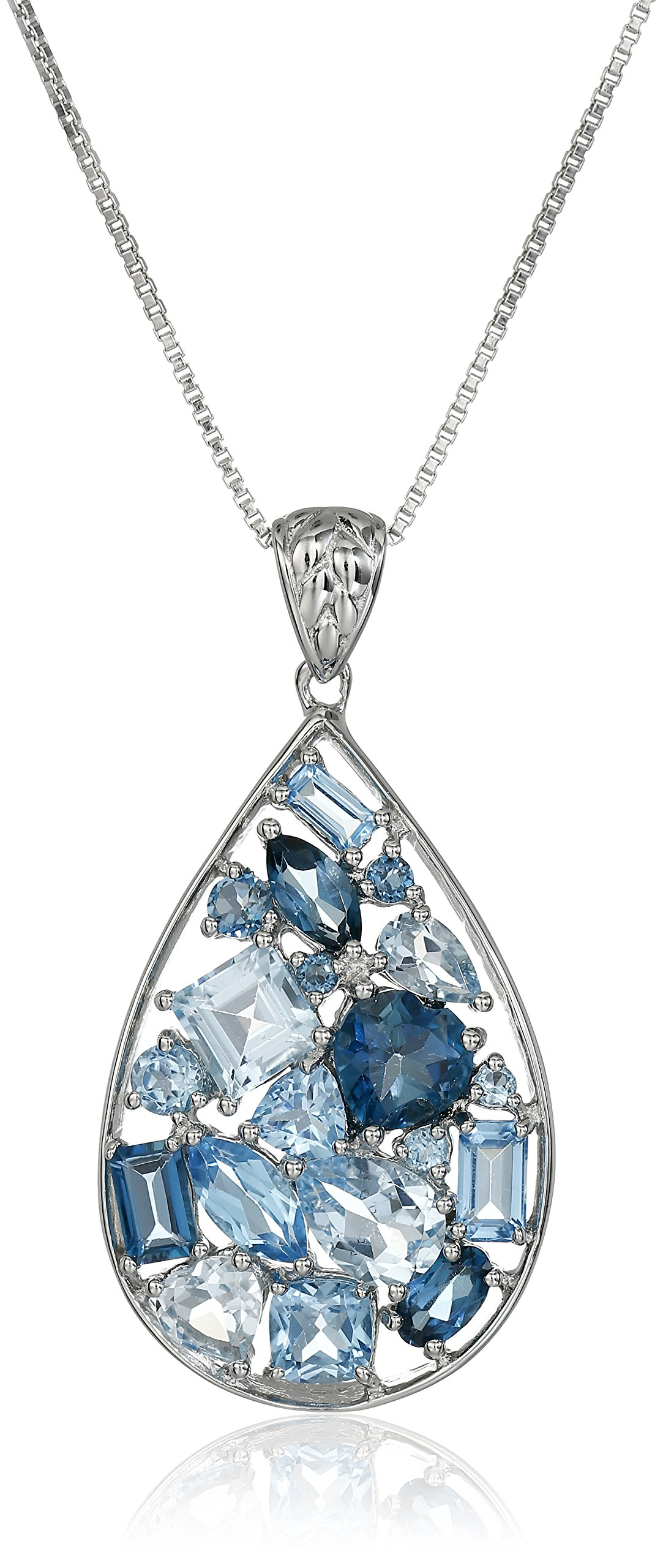 Sterling Silver Pendant Necklace with Mixed Topaz
