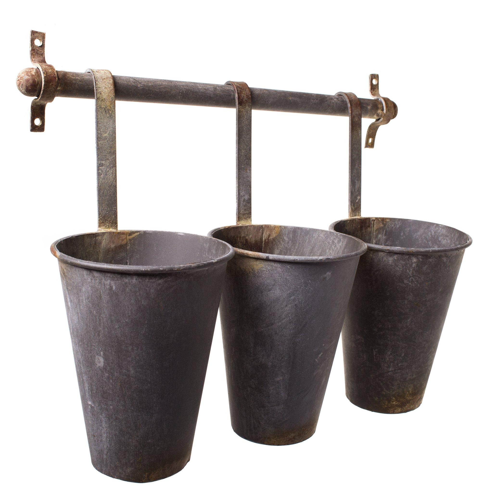 Rustic Tin Pots Galvanized 3 Hanging Wall Flower Holder Planter Pot Vase Cup Baskets Set on a Rack