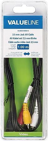 Valueline 3.5m/3x RCA, 1m cable de audio 3.5mm 3 x RCA Negro - Cables de audio (1m, 3.5mm, Macho, 3 x RCA, Macho, 1 m, Negro)