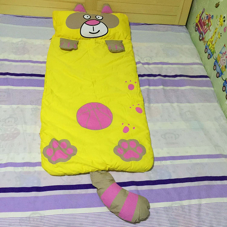 スポーツが多機能子漫画デザイン快適Sleepingバッグベビーグリーン猫anti-kickingキルト 55X24inch イエロー B071R3JRMK  イエロー