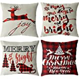 TGOOD Christmas Decorations Christmas Pillow Covers 18x18 Set of 4 Black and Red Buffalo Plaid Throw Pillow Covers for…