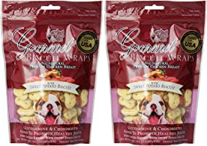 (2 Pack) Loving Pets All Natural Premium Sweet Potato Biscuit and Chicken Wraps with Glucosamine and Chondroitin Dog Treats, 8 oz