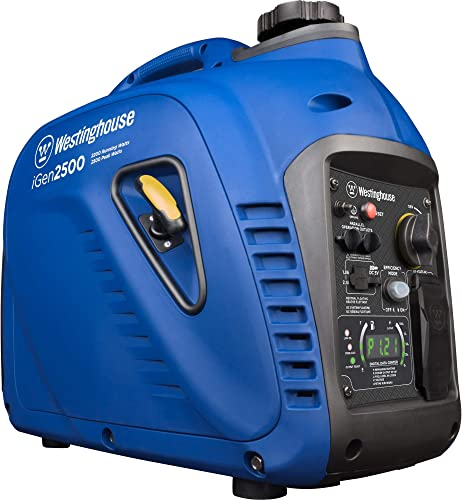 Westinghouse iGen2500 Super Quiet Portable Inverter Generator 2200 Rated 2500 Peak Watts, Gas Powered, 19.70 x 11.22 x 17.91 inches, CARB Compliant