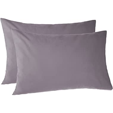 Pinzon 170 Gram Flannel Cotton Pillowcases, Set of 2, Standard, Graphite Grey