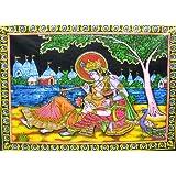 "Divine Lovers Radha Krishna Hindu God sequin Batik Cotton Wall Tapestry 40"" X 30"""