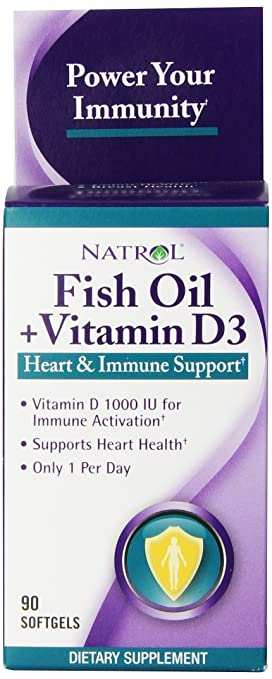 Natrol Fish Oil and Vitamin-D3 Softgels, 1,000mg, 90 Count