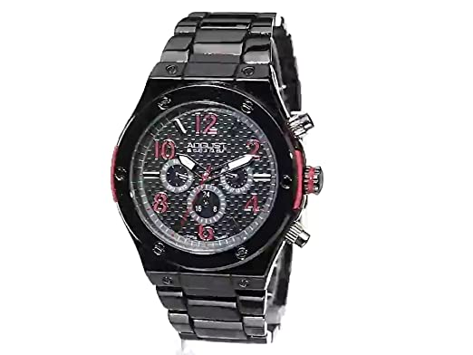 Amazon.com: August Steiner Mens AS8126RD Black Multifunction Swiss Quartz Watch with Red Accented Black Dial and Gray Bracelet: Watches