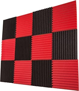 Foamily 12 Pack- Red/Charcoal Acoustic Panels Studio Foam Wedges 1