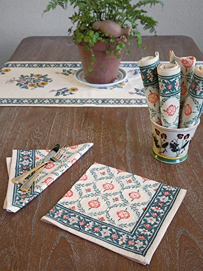 Wild Poppies ~ Blue Green Leaf Trellis Moroccan Dinner Napkin