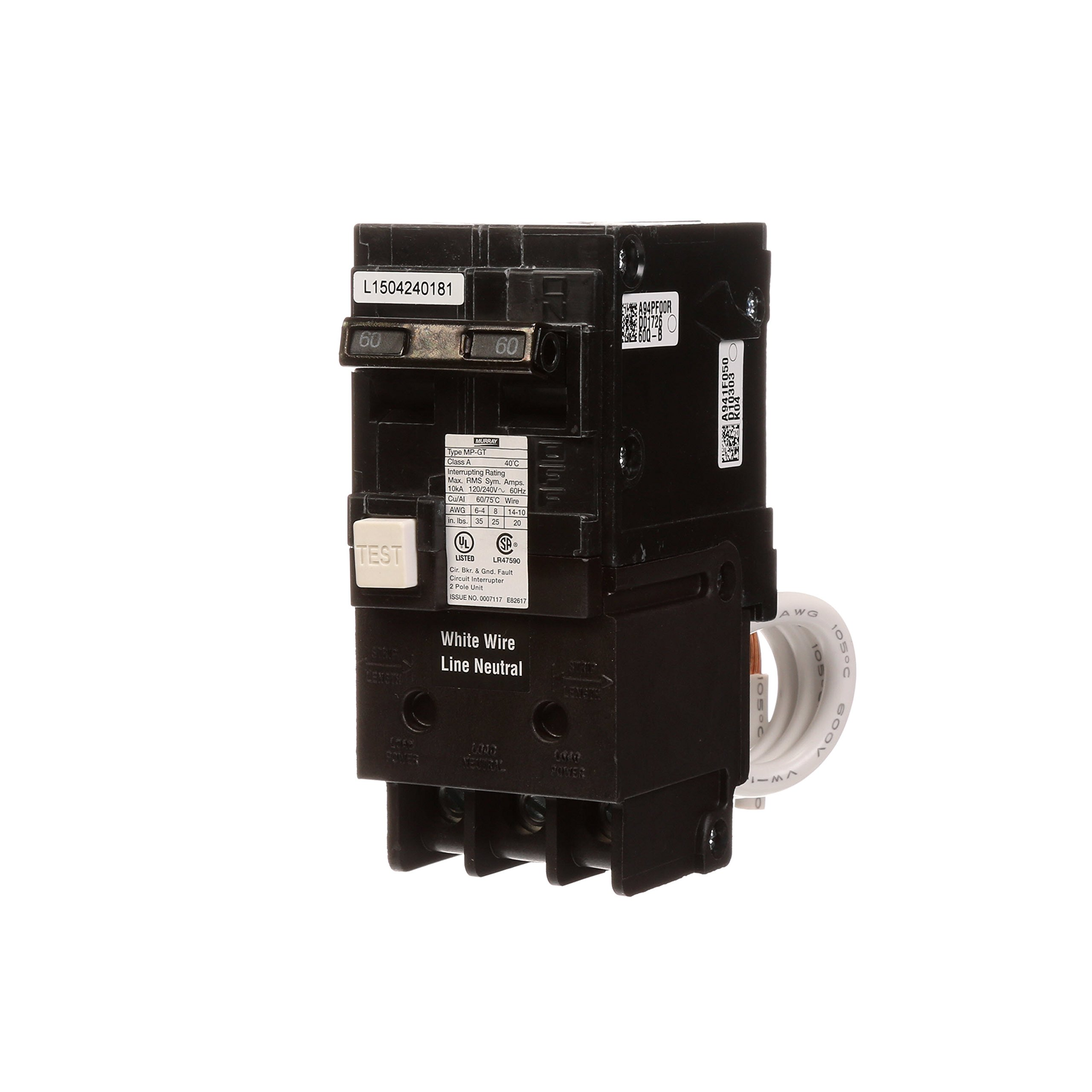 Murray MP260GFA 60 Amp 2-Pole Gfci Circuit Breaker with Self Test & Lockout Feature