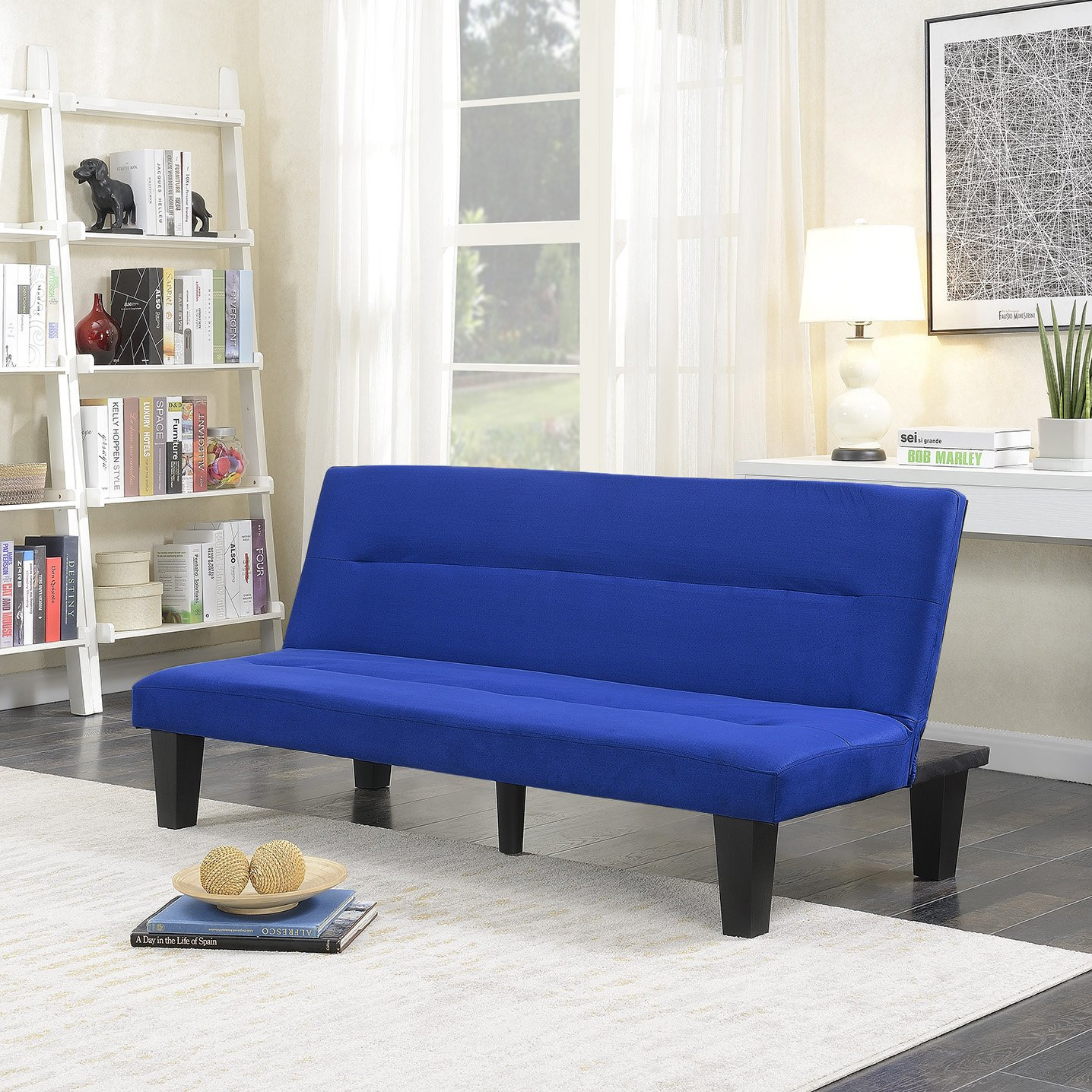 Belleze Convertible Sofa Adjustable Cushion Seat Backrest Futon Bed Legs Upholstered Microfiber Sleeper Adjustable, Blue