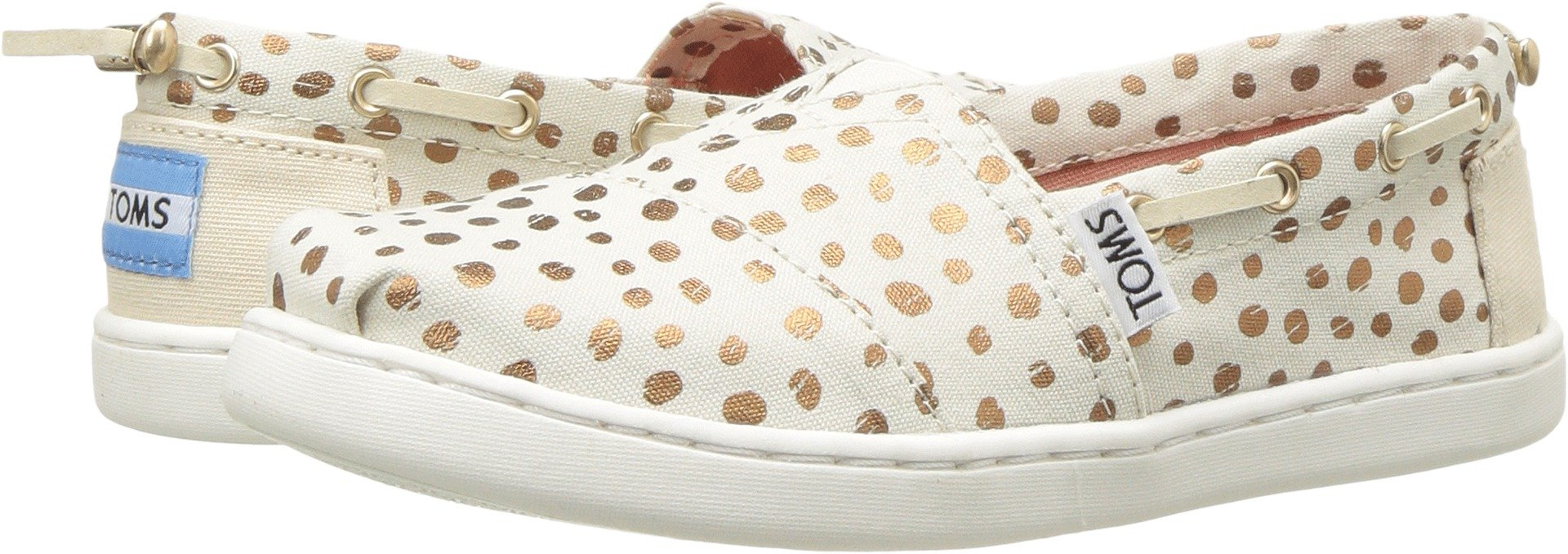 TOMS Youth Bimini Canvas Printed Espadrille, Size: 3.5 M US Big Kid, Color Rose Gold Dots