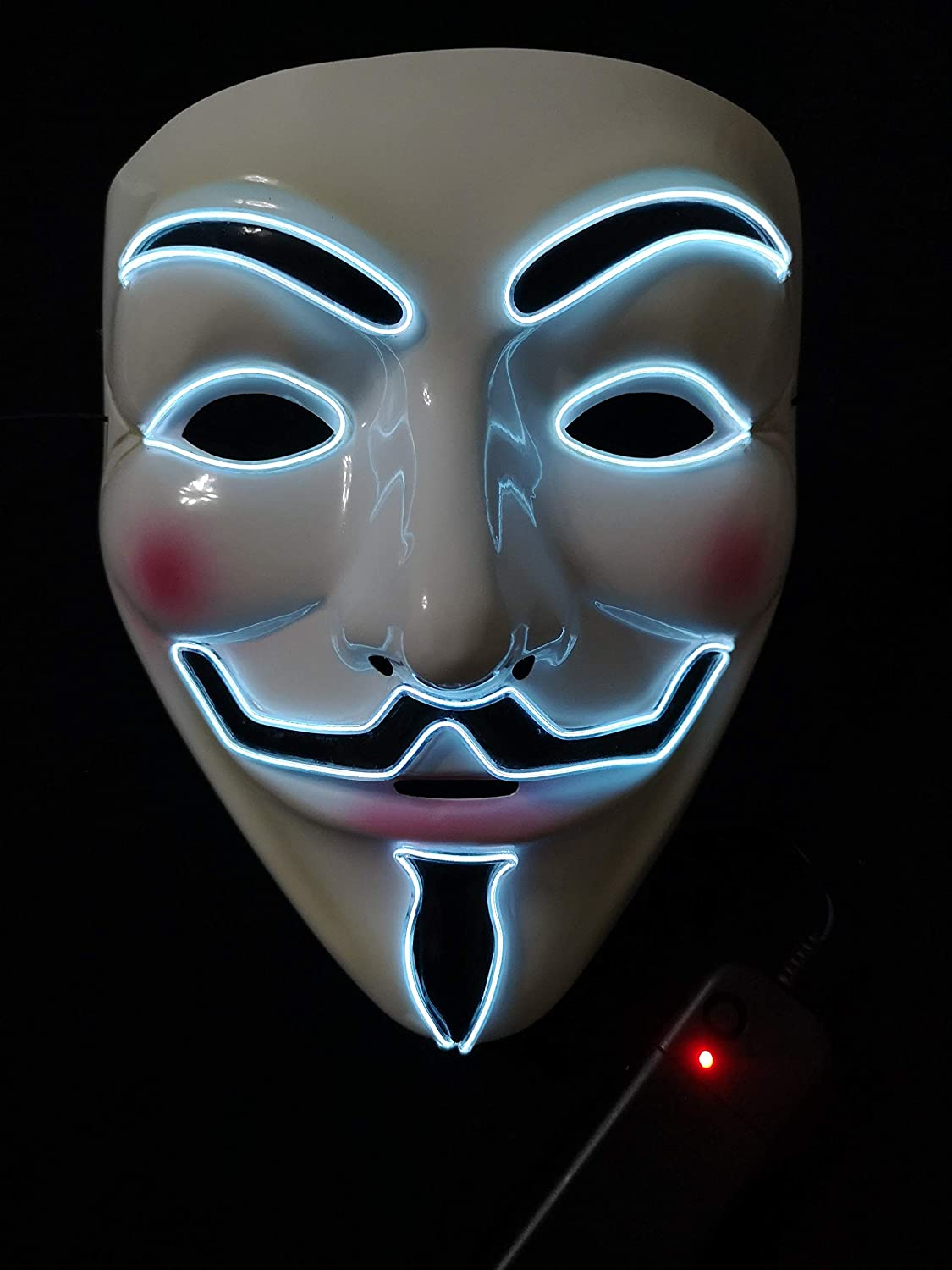 SOUTHSKY LED Mask V Vendetta Mask EL Wire Light Up For Halloween Costume Cosplay Party(V-White)