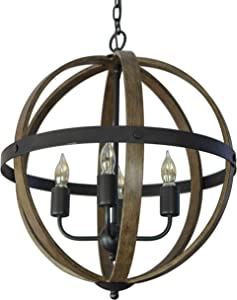 Decor Therapy CH1857 Pendant Light, 22w 18d 26h, Black Metal and Wood