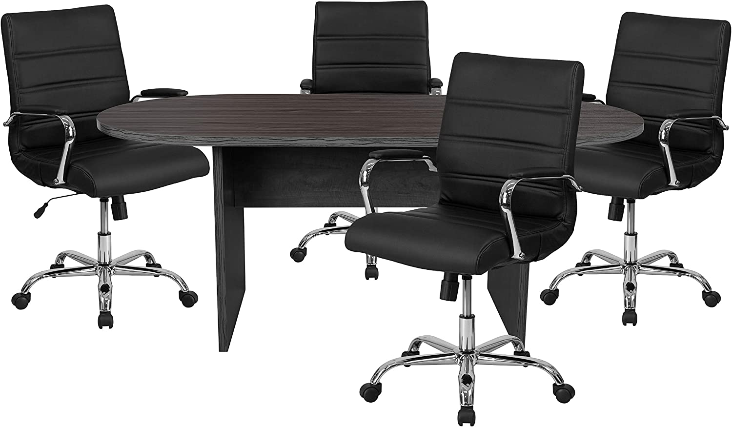 Flash Furniture 5 Piece Rustic Gray Oval Conference Table Set with 4 Black and Chrome LeatherSoft Executive Chairs