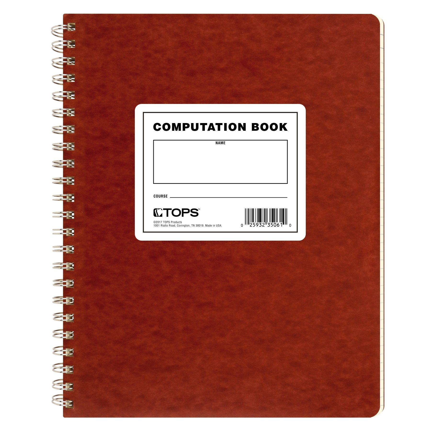 TOPS Computation Book, 11.75 x 9.5 Inches, Double Wire, 152 Numbered Pages, Quadrille Ruled, 76 Sheets, Buff, (35061) by TOPS