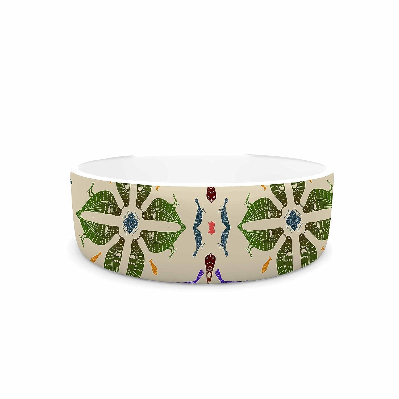 KESS InHouse Laura Nicholson Kissing Budgies  Geometric Beige Pet Bowl, 7
